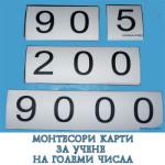 Монтесори карти за учене на големи числа
