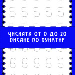 Числата от 0 до 20 – писане по пунктир