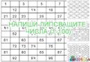 Напиши липсващите числа (1-100)
